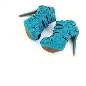 Gianni Bini Turquoise Booties Bejeweled Bedazzled